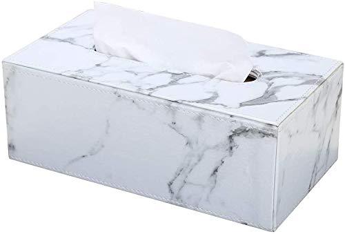 LOXZJYG PU-Leder-Gewebe-Box-Halter, rechteckige Serviettenhalter-Pump-Papier-Gehäuse-Spender für Home Office-Automobil-Dekoration (Farbe : Weiß)