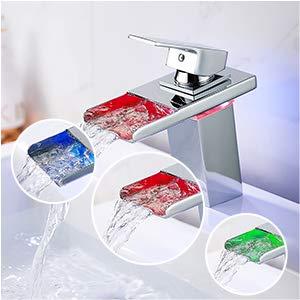 Grifo de cascada de acero inoxidable, mezclador de lavabo con 3 colores LED, grifo elegante y diseño retro, grifo de palanca, monomomomando lavabo agua caliente fría duradera (06)