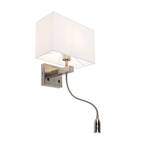 QAZQA Design/Modern Wandleuchte aus Bergamo-stahl/nickel matt mit cremeweißem Schirm/Innenbeleuchtung/Wohnzimmerlampe/Schlafzimmer/Küche/Nachttischleuchte Textil/Stahl Quadratisch/Recht