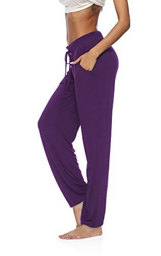 DIBAOLONG Womens Yoga Pants Wide Leg Comfy Drawstring Loose Straight Lounge Running Workout Legging Purple S
