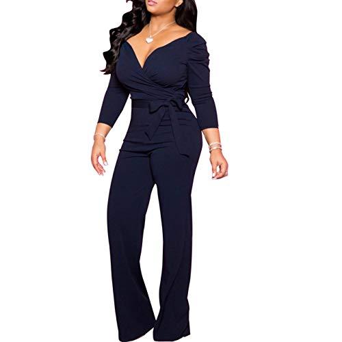 IyMoo Womens Jumpsuits Elegant Button Loose Long Wide Leg Jumpsuits Romper 3-Navy Blue X-Large