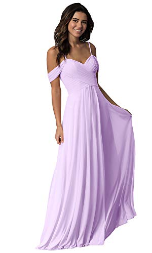 Women's Off The Shoulder A Line Pleated Floor Length Bridesmaid Dress Chiffon Long Prom Formal Dress Lavender Size 4