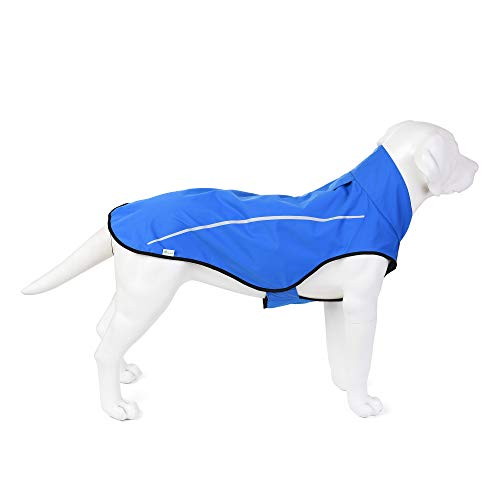 "Mile High Life | Dog Raincoat | Adjustable Water Proof Pet Clothes | Lightweight Rain Jacket with Reflective Strip | Easy Step in Velcro Closure,Blue,S (Girth: 22""-27"", Length: 22.5"")"