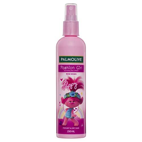 Palmolive Kids Trolls Fashion Girl Hair Detangling Spray Rose Kisses For Wet & Dry Hair Trolls Poppy Made in Australia 250mL