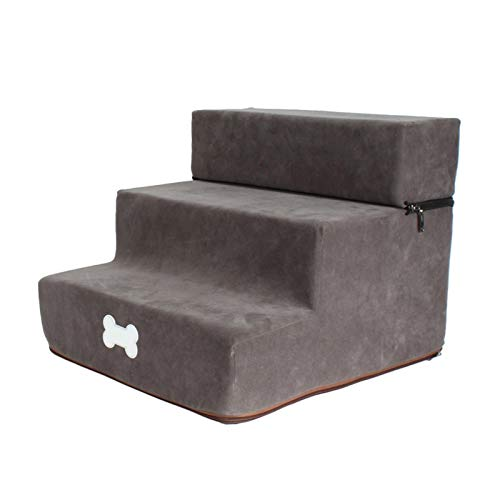 Dog Sofa,Removable High Density Foam Dog 3 Steps Stairs Pet Bed Steps with Washable & Zippered Cover Pet Ramp Stairs Pet Bed Ladder for Kitten and Puppy