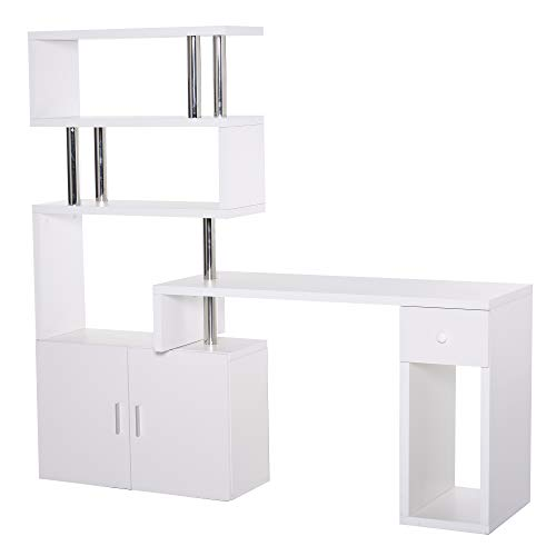 HOMCOM Schreibtisch in L-Form/I-Form Eckschreibtisch Computertisch Kombination-Tisch mit Bücherregal und Schublade Wabenplatte Edelstahl Weiß 120x80x164 cm