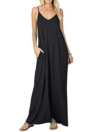 Vecys Vestido Largo Verano Sin Mangas Cuello V Vestido con Bolsillos Mujer Casual Playa Tirantes Falda Larga(Negro,L)