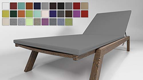 Rollmayer Sitzkissen für Sonnenliege Auflage Polster für Gartenliege Liegestuhl Strandliege Kollektion Vivid (Silbergrau 31, 190x54x4cm - 2er Set)