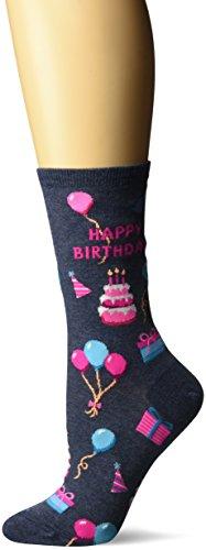 Hot Sox Damen Strumpfwaren Gr. Schuhgröße 36-43/Socke Größe 42-44, Happy Birthday (Denim Heather)