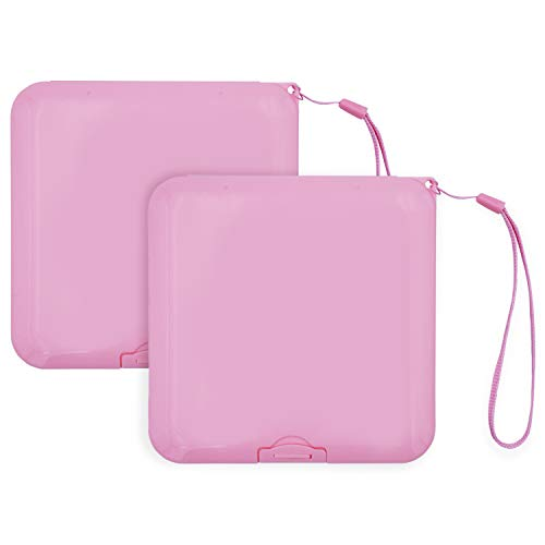 2x Maskenbox für Mundschutz, Tragbare Aufbewahrungsbox ideal für FFP2 Maske, Aufbewahrungsbehälter mit Band, Maskenetui für staubdichte Masken Aufbewahrung, Box für Mundschutzmasken (Pink)