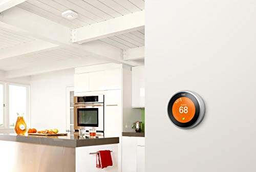 Google Nest Learning Thermostat, 3rd Gen, Smart Thermostat, Stainless Steel, Works With Alexa