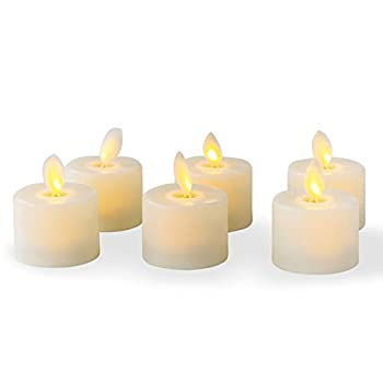 Flameless LED Tea Light Candles Realistic Dancing LED Flames Electric Fake Candles Flickering Battery Operated Candles LED Votive Candles Unscented Tealights Decorative Candles Warm White Pack of 6