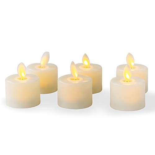 Flameless LED Tea Light Candles Realistic Dancing LED Flames Electric Fake Candles Flickering Battery Operated Candles LED Votive Candles Unscented Tealights, Decorative Candles Warm White, Pack of 6