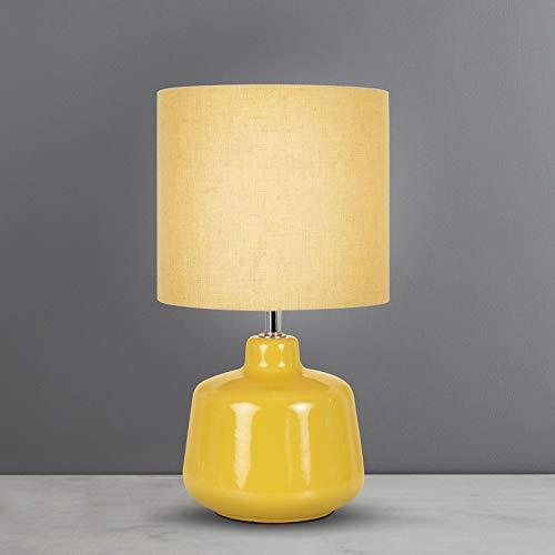 Oslo - Lámpara de mesa pequeña de algodón ocre y base de cerámica brillante para salón dormitorio