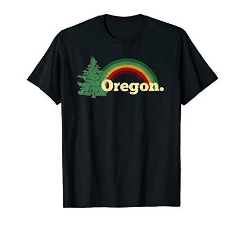 Retro Vintage Oregon Throwback rainbow distressed gift T-Shirt