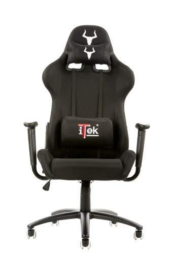 ITEK iTek Gaming Chair TAURUS S1 - Tessuto, Doppio cuscino, Nero Nero