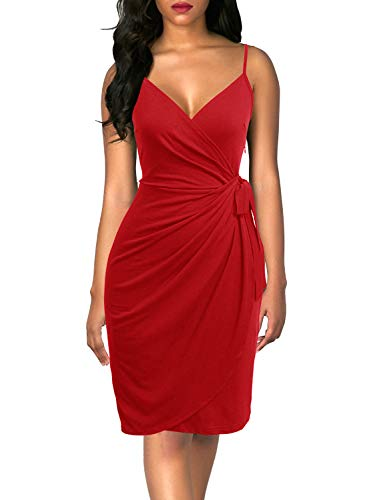 Berydress Women's Classic Cocktail Party Dress V-Neck Spaghetti Strap Sheath Belted Knee-Length Faux Black Wrap Dress (L, 6089-Red)