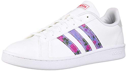 adidas Women's Grand Court Walking Shoe, White/Glow Blue/Real Pink, 8.5 Medium US