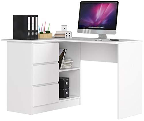 ADGO B16 Hölzerner Eckcomputertisch 124 x 77 x 85 cm mit 3 Schubladen für einen Raum für Kinder und Jugendliche Werkstatt und Büro (Links, White)