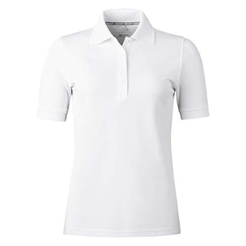 agon Damen Pique Polo-Shirt - Kurzarm-Shirt mit Knopfleiste für Frauen, bügelfrei und atmungsaktiv, für Sport und Business, Made in EU Reinweiß 40/L