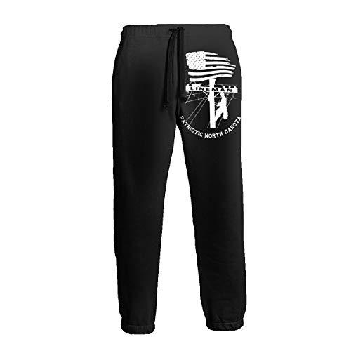 Patriotic North Dakota Power Pole Electric Cable Lineman Men's 3D Printing Trousers Pocket Pants Trousers Sweatpants Slacks White