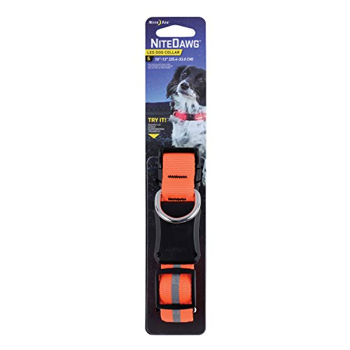 Nite Ize Nite Dawg LED Light Up Dog Collar, Medium, Orange