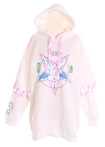 TS-38-F2 Weiß Evil Cute Bunny Angel Hase Rabbit weiß Oversize-Look Kapuzen Sweatshirt Pullover Pastel Goth Lolita Harajuku Kawaii