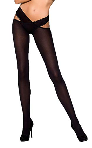 Schwarze Damen Dessous business Strumpfhose elastisch transparent mit Bänder 1/2