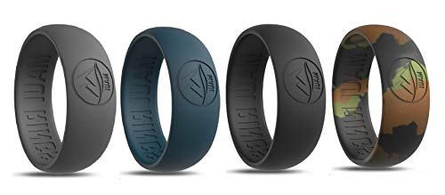MAUI RINGS Men's Silicone Wedding Rings Breathable Comfortable Attractive Rubber Band Safe for Sports Work Fitness Thin 8 Colors Precious Metal Look