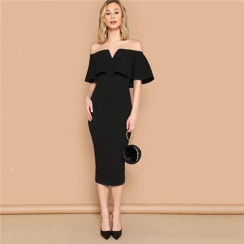 GMZA Shein zwarte elegante schoudervrije, figuurbenadrukte jurk zomervrouwen korte mouwen ruches glamoureuze midi-partyjurk met stevig potlood
