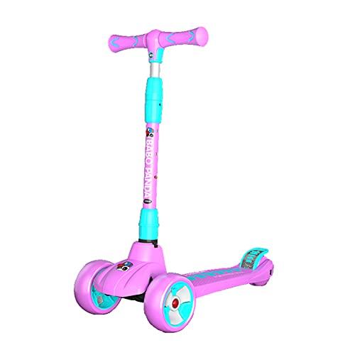 Patinete de pedales de 3 ruedas,patinete de pedales regulable en altura con ruedas luminosas,obsequios para niños y niñas,patinete de pedales autoequilibrado,apto para niños mayores de 3 años,Rosado