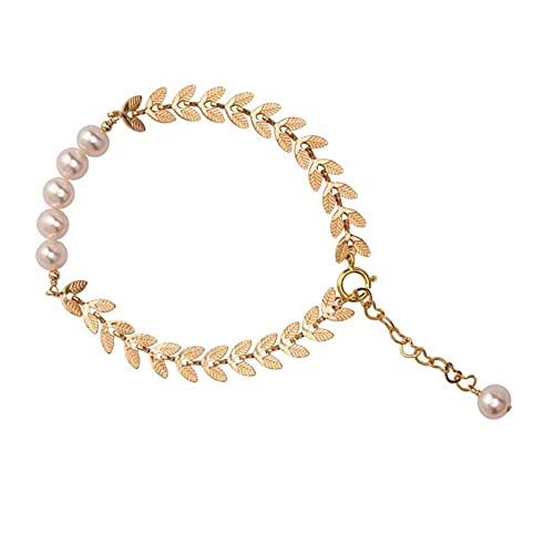 Hokie - Pulsera de perlas blancas cultivadas de agua dulce, chapado en oro de 14 quilates, perlas de agua dulce de 5,5 mm, regalo perfecto para ella