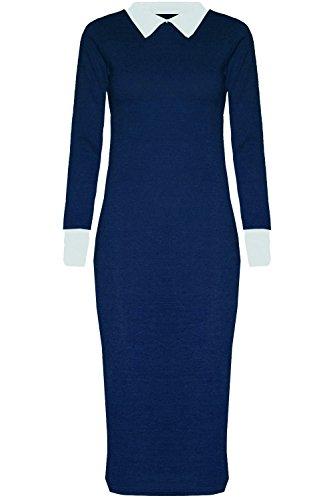 Xclusive Plus Vestido Midi - de Color Marina de Guerra para Mujer de Talla 44-46