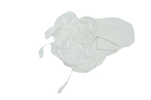 GIZZY® Elegant Ivory Cream Chiffon, Veiling and Feathers Juliet Cap Fascinator on Headband.(Size: One Size)