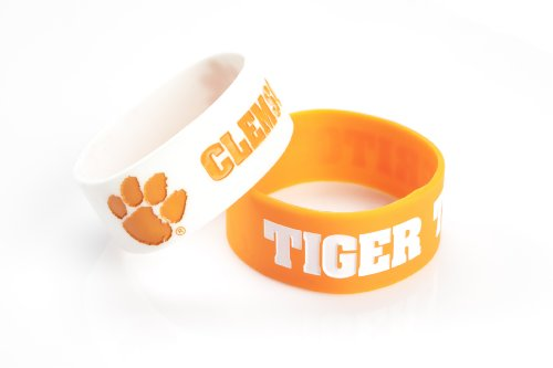 NCAA Clemson Tigers Silicone Rubber Bracelet, 2-Pack
