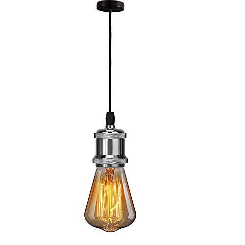 E27 Lustre Suspension Vintage LED Lighting Retro Culot de Lampe Edison Adaptateur de Douille avec Cable de 100cm (Argent)
