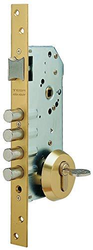 Tesa 3010258 Cerradura Seguridad R100B566 Esmaltada, Cromado, Cil. 30x30mm