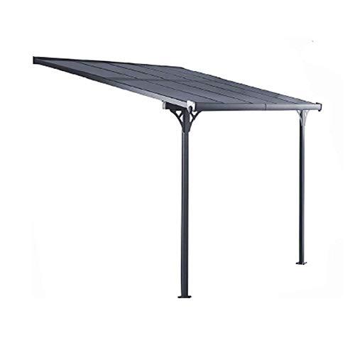 GARDIUN KIS13011 - Pérgola de Pared Elliot - 11 m² 435x254x220/260 cm Aluminio y Policarbonato