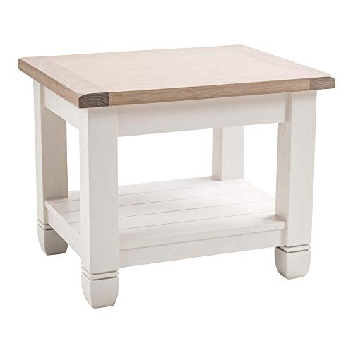 Maine Furniture Co. Faversham bijzettafel, antiek wit, hout, meerkleurig