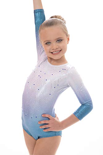 Vincenza Dancewear Girls Radiant Long Sleeved and Short Sleeve Leotard for Dance, Gym and Gymnastics (7-8 Years, Radiant Turquoise Ombre)