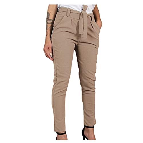 N\P Casual Slim gasa pantalones delgados para las mujeres con faja cintura alta negro caqui