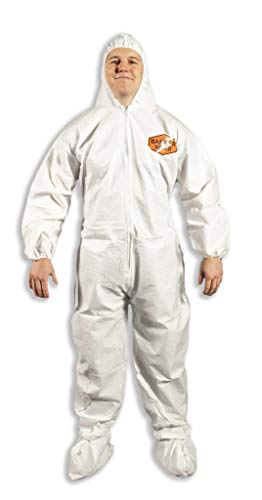 Quest Barrierwear Disposable Coveralls for Light Splash and Dry Environments, White, Single Pack - 3XL