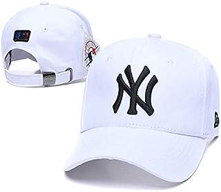 Dark rose Adjustable Size NY Baseball Hat Adult Men & Women Fit Yankees Cap (White - Black)