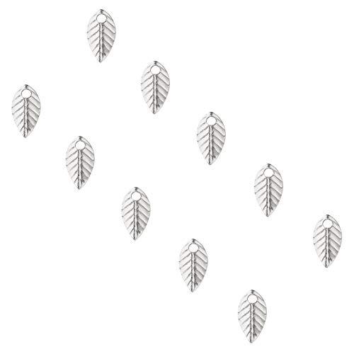 UNICRAFTALE 約500個 7mm 葉形 チャーム 304ステンレス チャーム 植物シリーズ 葉っぱ柄 リーフ柄 樹柄 木の葉 ツリー柄 可愛い ステンレス色 メタルチャーム 金属チャーム ネックレスパーツ ジュエリー作り ネックレスブレスレットピ