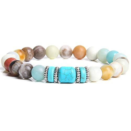 YITIANTIAN Naturstein Amazonit & Türkis Perlen Armband Antik Silber Farbe Charm Armband für Frauen Männer Yoga Schmuck Geschenk