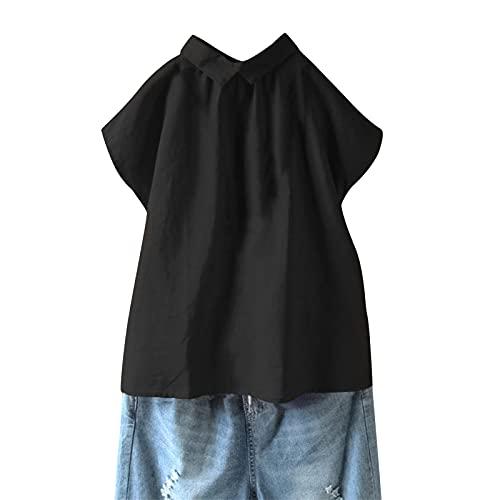 Julhold Camicetta in lino tinta unita con risvolto manica corta camicia donna casual sciolto top, Nero , XXL