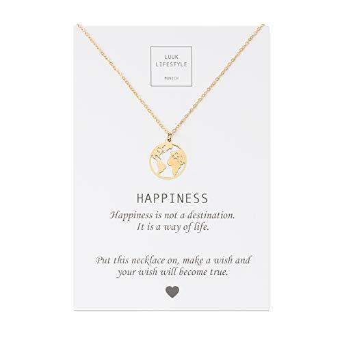LUUK LIFESTYLE Edelstahl Halskette mit Weltkarte Anhänger und Happiness Spruchkarte, Glücksbringer, Damen Schmuck, gold