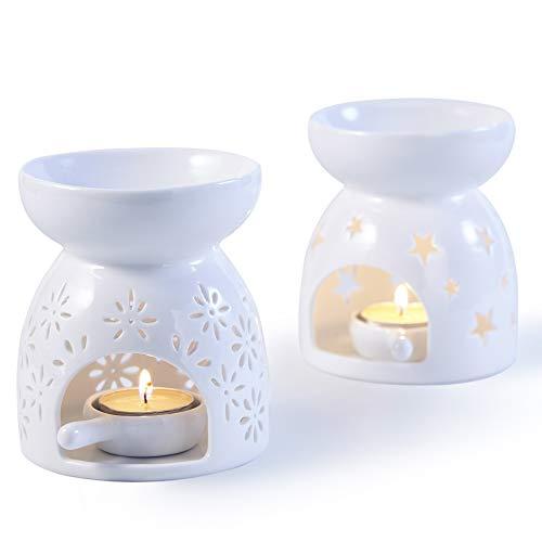 Bochee Keramik Duftlampe Aromalampe Weiß mit kerzenhalter Set mit 2-Sterne- und Blumenmuster
