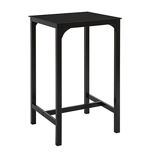 SoBuy OGT38-SCH Mesa de Comedor Material Cristal Templado/Metal Color Negro Medidas 60 x 60 x 100 cm ES