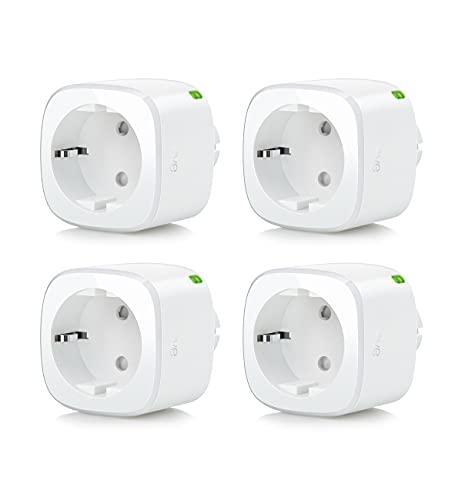 Eve Energy lote de 4-Enchufe y contador eléctrico inteligente con horarios integrados, enciende y apaga lámparas o dispositivos enchufados, control por voz, no necesita centralita,Apple HomeKi